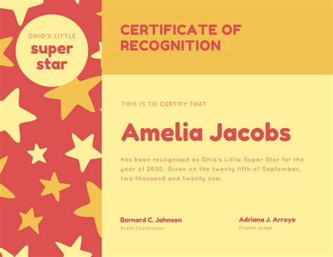 customize  recognition certificate templates