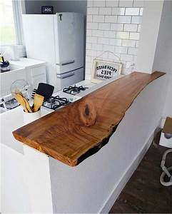 Plan De Travail Pour Bar : photo ilot bar cuisine plan de travail bois brut meuble ~ Dailycaller-alerts.com Idées de Décoration