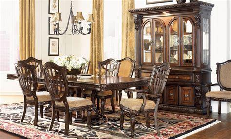 grand estates cinnamon extendable double pedestal dining