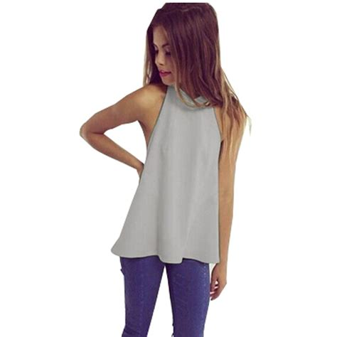 summer blouse casual blouse backless blusas summer style white grey
