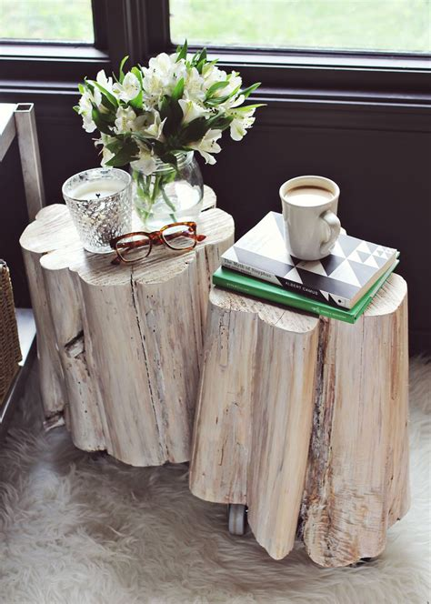 how to make a tree stump end table diy tree stump side tables a beautiful mess