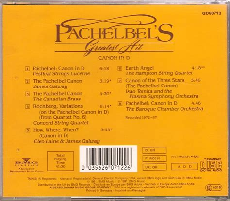 pachelbel s greatest hit canon in d