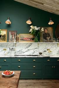 Victorian, Green, Marble, And, Brass, Kitchen, Design