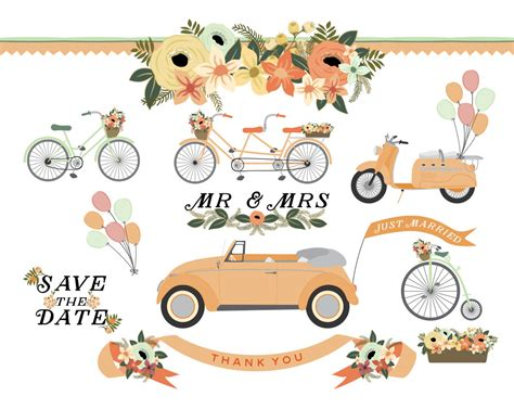 vintage wedding car clipart   cliparts