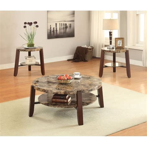 Do you want a marble coffee table without the hefty price tag? Soothing Coffee Table, Faux Marble & Cherry Brown - Walmart.com - Walmart.com