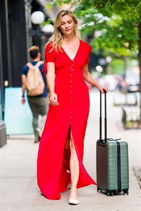Karlie Kloss Wearing Express Red Dress