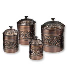 copper kitchen canisters kitchen canister set antique copper set of 4 in kitchen canisters