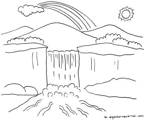 gambar mewarnai pemandangan gunung yang sudah diwarnai