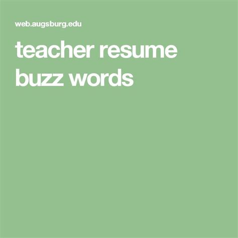 teacher resume buzz words teaching resume education resume