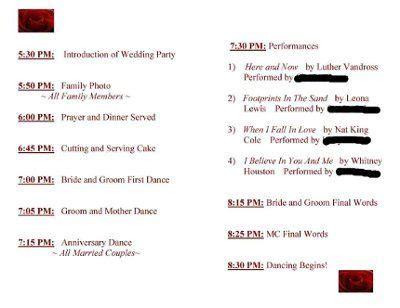 wedding sequence   reception order