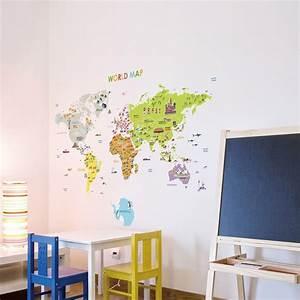 Carte Du Monde Sticker : stickers pour les b b s sticker carte du monde g ante pour enfants ambiance ~ Dode.kayakingforconservation.com Idées de Décoration