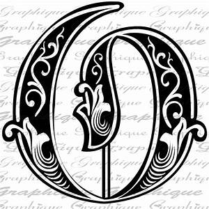 letter initial o monogram old engraving style type text With engraving letter styles