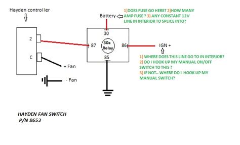 Wiring Electric Fan With Hayden Sensor Third Generation