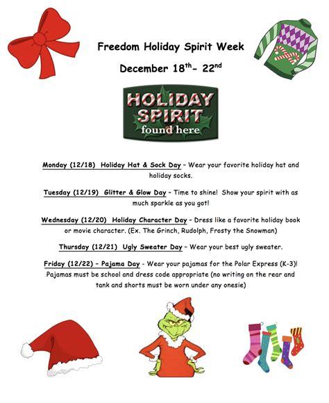Download christmas spirit week png image for free. Holiday Spirit Week - Freedom Elementary School