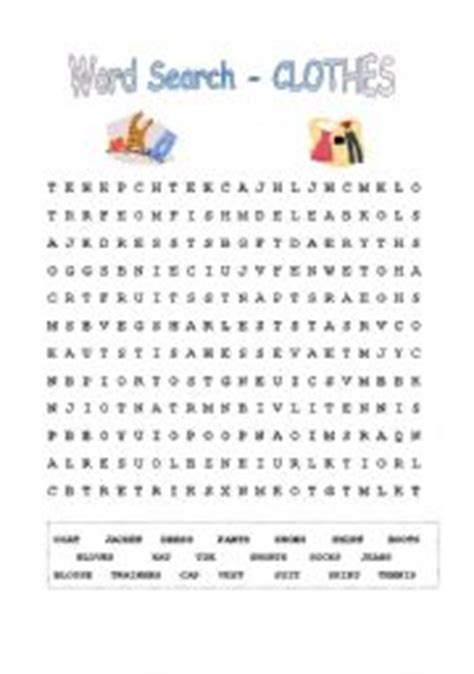 word search printable clothes worksheet word search clothes