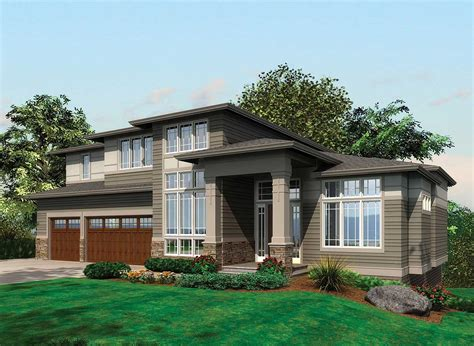 contemporary craftsman house plans contemporary prairie with daylight basement 69105am