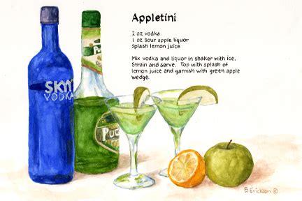 appletini recipe drinks appletini recipe paintings by brenda erickson watercolor