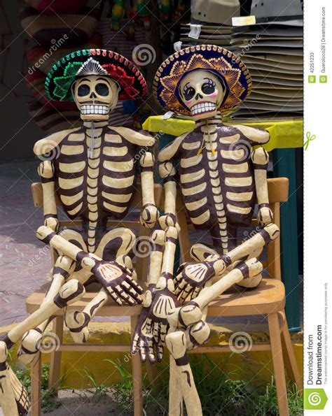 wooden mexican skeletons stock image image  american