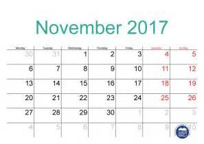 November 2017 Calendar Printable Template