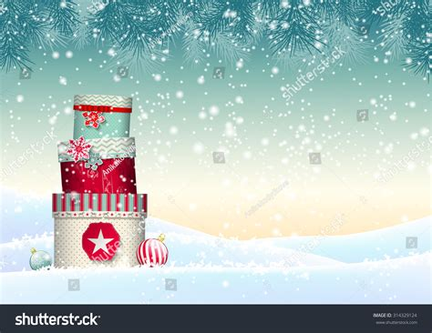 Christmas Background Stack Colorful Presents Snowy Stock