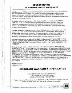 Important Warranty Information  Jensen Retail 12 Month