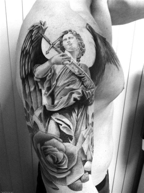Angel Guardian And Roses Tattoo For Men | Warrior tattoos, Picture tattoos, Angel tattoo men