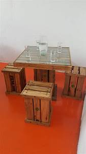 mesa minimalista madera pallets vintage con 4 bancos