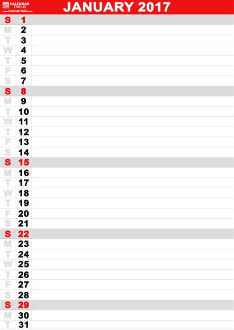 printable january  calendar calendartablecom