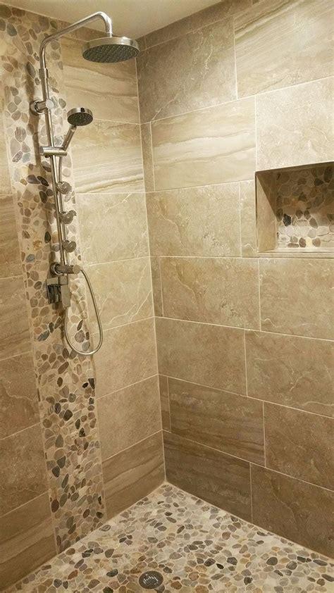 pebble stone sliced mixed tile   bathroom remodel