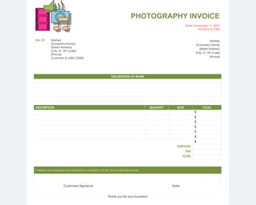 Pography Invoice | Photography Invoice Template Erieairfair