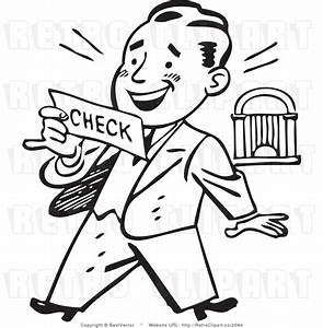 Retro Clip Art of an Excited Businessman Looking at His ...