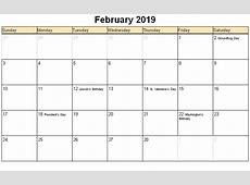 February 2019 Calendar With Holidays monthly printable