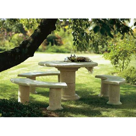 set de 1 table ronde et 3 bancs chamorin en collection lalie salon de jardin en b 233 ton