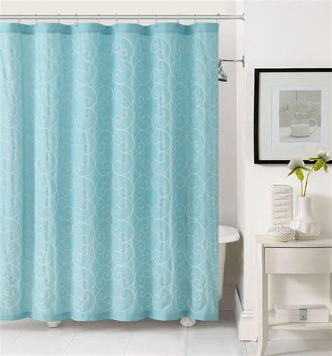 Light Aqua Blue Fabric Shower Curtain: White Circle Swirl