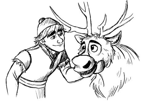 Kristoff Teasing Sven Coloring Pages
