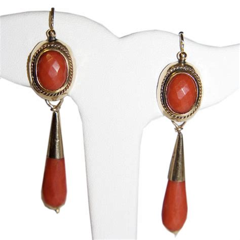 antique 12k gold chandelier coral earrings from