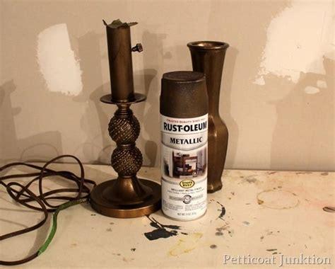 spray paint bronze metallic lamp antique brass rustoleum rust oleum makeover base glass vase petticoat junktion petticoatjunktion