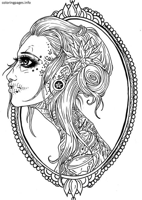 Girly Sugar Skull Coloring Pages | Sugar Skull Coloring Pages | Skull coloring pages, Tattoo
