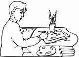 Coloring Pages Colouring Artist Painter Artists Print Picolour Awesome sketch template
