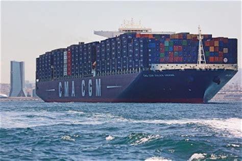 le cma cgm jules verne plus grand porte conteneurs au monde et battant pavillon fran 231 ais a 233 t 233