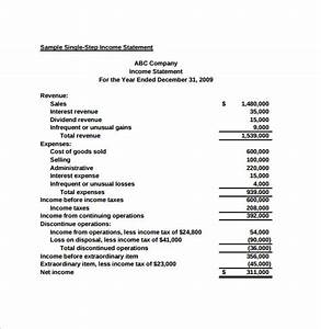 Simple Income Statement - 6+ Samples , Examples & Format
