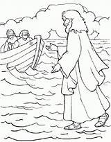 Coloring Jesus Walks Water Pages Printable sketch template