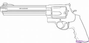 How to Draw a 44 Magnum Gun, Step by Step, guns, Weapons ...