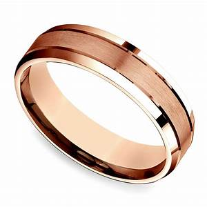 Satin Beveled Men39s Wedding Ring In Rose Gold