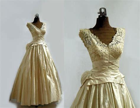 On Reserve 1950s Wedding Dress/ Designer / Antiqued Silk