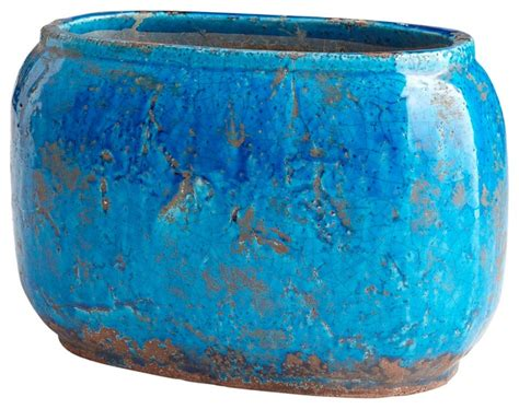 cyan design  large ventura planter blue glaze