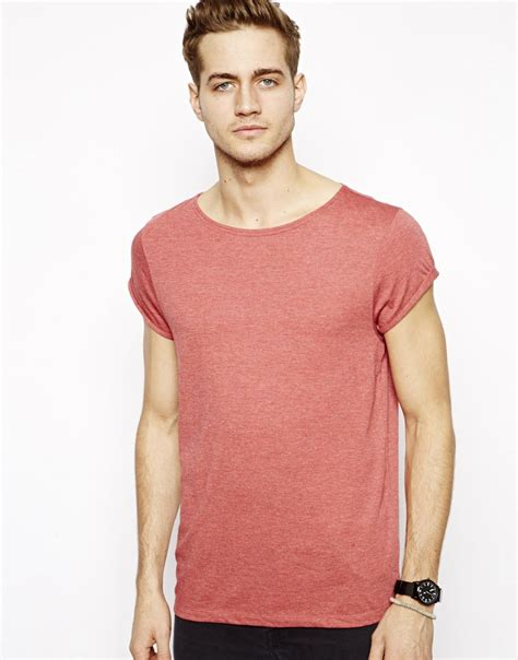 Boat Neck T Shirt For Mens by Asos Tshirt With Boat Neck And Rolled Sleeve In For