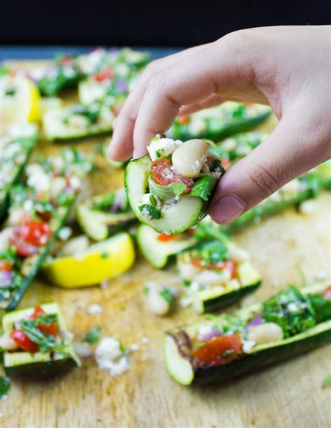 How To Make Zucchini Boats On The Grill by Zucchini Boats With White Bean Salad Grilled Two