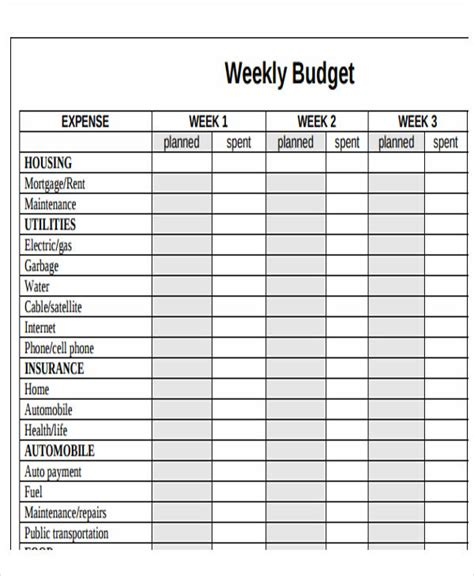 weekly budget template cover sheet