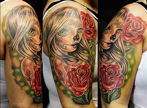 Girl Rose New School Tattoo  Tattoo Abyss